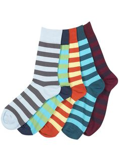 + Block Striped 5 Pack Socks (@ TOPMAN)