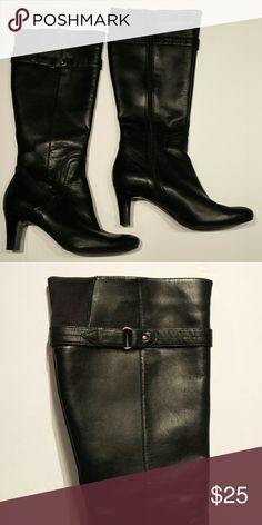Easy Spirit 7.5 M Heeled Leather boots. Easy Spirit 7.5 M boots.  Leather upper with small fabric insert in upper calf.  Zipper entry on inner side.2 1/2 inch heel.  Barely worn, light scuffs on toes. Easy Spirit Shoes Heeled Boots