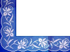 Sheme by Ivana Filet Crochet, Crochet Lace Edging, Crochet Borders, Crochet Stitches, Knit Crochet, Cross Stitch Designs, Cross Stitch Patterns, Crochet Designs, Crochet Patterns