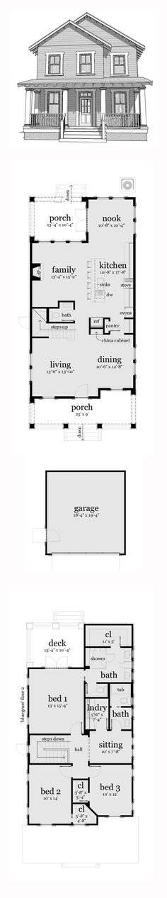 Narrow Lot House Plan 2080 sq. ft., 3 bedrooms and 2.5 bathrooms. #narrowlothome