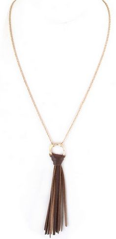 Rustic Brown Leather Tassel Necklace – Bungalow20