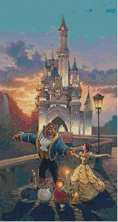 """""""Disney"""" """"Beauty and the Beast"""" Sunset Waltz Cross Stitch Pattern WANT"""