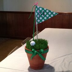 Golf Tournament Table Decoration used at OHCC 4 Ball 2012 made by Stacy Nelson.  Yeah wheat seed from Ark Co!