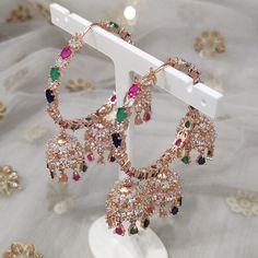 Jhumki Earrings, Dangle Earrings, Diamond Earrings, Asian Bridal, Dangles, Jewelry Design, Rose Gold, Silver, Jewellery