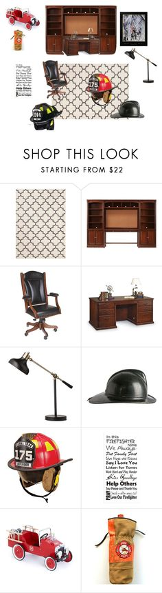 """Firefighters study"" by kwhitneyf ❤ liked on Polyvore featuring interior, interiors, interior design, home, home decor, interior decorating, Threshold, Home Decorators Collection, DutchCrafters and Martin Furniture"