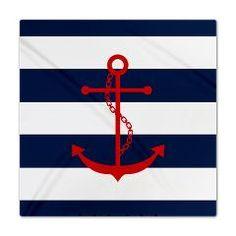 Red Anchor on Blue Stripes Queen Duvet #bedding #duvet #anchor #nautical #stripes #red #blue