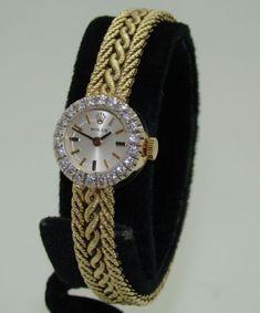 Vintage Rolex mujer 14K oro Amarillo de Cuerda Diamante Bisel Reloj C.1960's