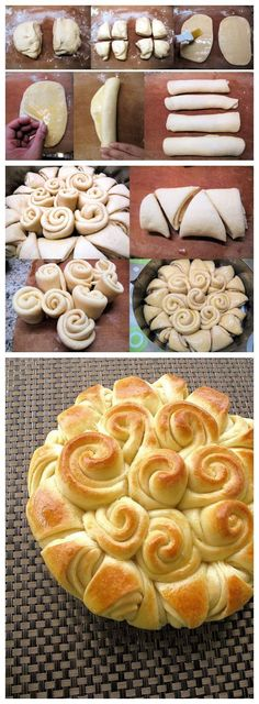 Happy Bread Ingredients: 2 teaspoons dry instant yeast 1 tablespoon sugar or honey warm milk all-purpose flour, plus extra for kneading and flouring 1 teaspoon salt 2 eggs, lightly beate… Bread Ingredients, Bread And Pastries, How To Make Bread, Sweet Bread, Love Food, Cooking Recipes, Yummy Food, Favorite Recipes, Cookies