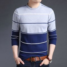 2018 New Fashion Brand Sweater Mens Pullover Striped Slim Fit Jumpers Knitred Woolen Autumn Korean Style Casual Men Clothes Mens Cotton Sweaters, Cashmere Sweater Men, Casual Sweaters, Men Sweater, Woolen Clothes, Men Clothes, Casual Clothes, Slim Fit, Korean Fashion