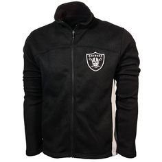 The Oakland Raiders NFL Transitional Full Zip Jacket by GIII perfect for fall weather, features:      	100% textured polyester bonded to microfleece  	Zippered jacket with 2 front open pouch pockets  	Primary and secondary team color body  	Team logo applique on front left chest   	Embroidered team wordmark below the neckline.   | Shop this product here: http://spreesy.com/drobby/7 | Shop all of our products at http://spreesy.com/drobby    | Pinterest selling powered by Spreesy.com