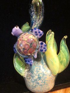 Stand Up Glass Pipe - Slyme Glass Turtle Pipe - Glass Turtle Pipe - Turtle Sculpture -  Spoon. $50.00