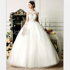 Ball Gown Wedding Dress Floor-length Jewel Tulle with Bow / Lace / Beading 2017 - $169.99