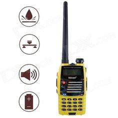Baiston BST558UV 1.6'' Waterproof Dual-Band Dual-Display Dual-Standby Walkie Talkie - Yellow. Features: 1. Frequency setting 2. High/ Low power change 3. Electricity Saving 4. Voice Control Sending 5. Wide/Narrow Band Setting 6. Auto Back lighting 7. Dual Frequency Standby 8. TOT (Timeout Timer) 9. 50 CTCSS and 104 DCS 10. Voice Report 11. ANI code ID verification 12. Smart frequency input/Handy frequency input 13. DTMF coding 14. PTT-ID Identification 15. Auto lock 16. BCL busy Locking 17…