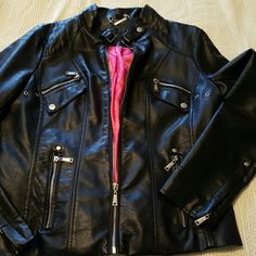 Vegan Biker Style Jacket Really cute moto jacket with zippers and hot pink lining. Excellent condition, gently worn maybe 3 times. Junior Size XL but can surely fit a Large. Jackets & Coats