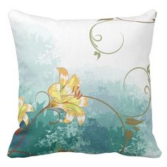 Pillow with Lilies and Blue Green Background