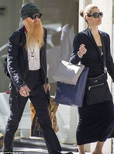 Standing out: ZZ Top rocker Billy Gibbons fails to go incognito thanks to his large beard as he hits the shops in Madrid with his wife Billy Gibbons Hat, Frank Beard, Grey Beards, Hot Blue, Zz Top, Ladies Gents, Awesome Beards, Sharp Dressed Man, Rock Legends