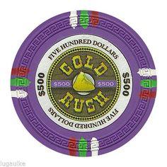 Lot of 50 x Gold Rush 13.5 Gram $500 #Casino / #Poker Chips New