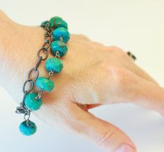 Turquoise and sterling wire wrapped artisan by BrioBaubles on Etsy, $114.00