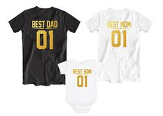 Matching Best Dad Best Mom Best Daughter t-shirts, Funny family shirts - perfect for your vacation or family reunion! Father Son Matching Shirts, Matching Family Outfits, Couple Outfits, Baby Outfits, Mommy And Son, Mom And Dad, Family Shirts, Kids Shirts, Dad Daughter