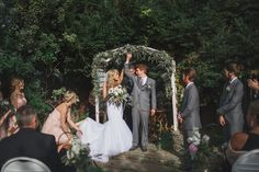garden wedding ceremony - photo by Kelsea Holder http://ruffledblog.com/cambria-pines-lodge-wedding