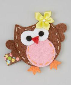 Brown & Pink Owl Clip #zulily #zulilyfinds