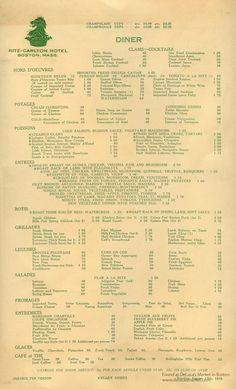 Ritz Carlton Menu, 1929
