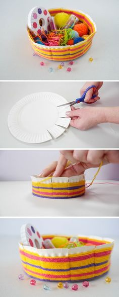 Today, we have a fantastic craft for you! We are going to make this easy woven bowl made out of a paper plate. Today, we have a fantastic craft for you! We are going to make this easy woven bowl made out of a paper plate. Yarn Crafts, Diy And Crafts, Arts And Crafts, Fabric Crafts, Paper Plate Crafts, Paper Plates, Diy For Kids, Crafts For Kids, Children Crafts