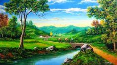 Cuadros Modernos Pinturas : Temas de Campesinos, Cuadros de Paisajes al Óleo