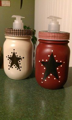Mason jar soap dispensers all decorated up  #putitinajar #masonjars #soapdispenser