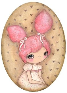 Carnival Print Pink Sugar Girl Wall Art Portrait by thepoppytree, $18.00