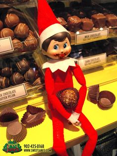 Uh-oh! Jane (Sweet Jane's resident Elf on the Shelf) got into our Chocolate truffles last night! We can't really blame her, though. They're soooo yummy!