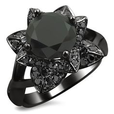 2.35ct Black Round Diamond lotus flower Engagement Ring 14k Black Gold Rhodium Plating Over White Gold Front Jewelers http://www.amazon.com/dp/B00L0QX6CW/ref=cm_sw_r_pi_dp_D.-qub1NWAR74