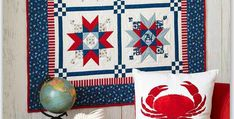 Perfect for Patriotic Holidays Too! Warm weather months bring to mind the seashore, lighthouses and seagulls. Crisp red, blue and white nautical fabrics combine in this striking quilt and remind us of sunny days near the water. It will be lovely on your wall or table for the summer months. It's perfect to display for …