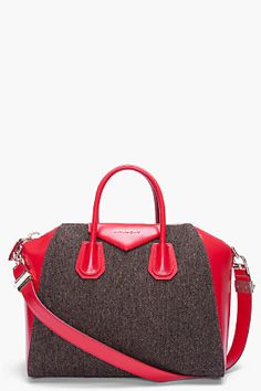 GIVENCHY Tweed and Red Leather Antigona Duffle Bag