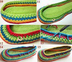 Colored Baby shoe made of Crochet free patterns-Templates and video tips on how … Bunter Babyschuh aus Häkelmustern-Templates und Video-Tipps zum Basteln – ☀ YaRn & Crochet Diy Crochet Slippers, Crochet Slipper Pattern, Crochet Shoes, Crochet Yarn, Crochet Clothes, Free Crochet, Crochet Patterns, Crochet Flip Flops, Popular Crochet