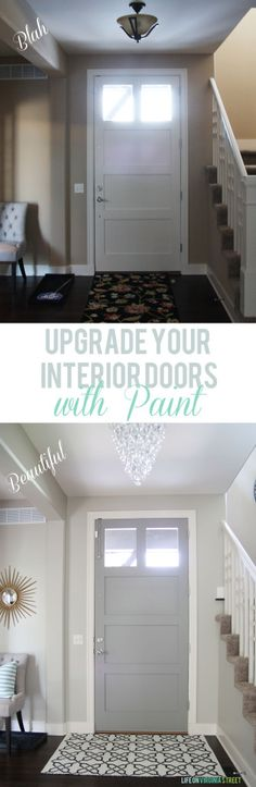 DIY Home Decor Ideas : Illustration Description Upgrade Your Interior Doors with Paint – such a dramatic (and EASY) change! Love that a source list is also included for this space! Interior Paint Colors, Interior Design, Gray Interior, Interior Painting, Living Colors, Painted Doors, Grey Paint, Diy Home Improvement, Decoration