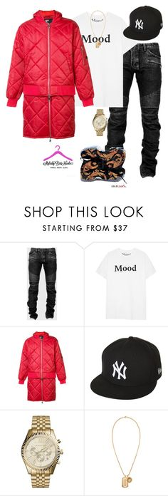 """M o o d."" by brittanynicole-v on Polyvore featuring Balmain, Hood by Air, NIKE, New Era, Michael Kors, Versace, men's fashion and menswear"