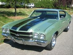 1970 Chevelle The color of my Mom's and my favorite of all the cars. She was a 1970 mint green metalic, with a white vinyl top and white interior. No stripes, 307. I remember shopping for a car with Dad, and I couldn't take my eyes off this car, we took it home for Mom to Test drive for two days,( yes they used to do that!), she fell in love too! Love driving you Malibu!