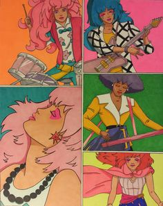 Jem and the Holograms by ArtByJPrefontaine on Etsy Cartoon Shows, Cartoon Characters, Jem Cartoon, Archie Comics, 90s Childhood, Childhood Memories, Jem Et Les Hologrammes, Jem And The Holograms, Saturday Morning Cartoons