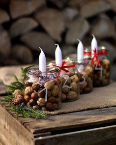 Simple And Popular Christmas Decorations Table Decorations Christmas Candles Diy - Home, Room, Furniture and Garden Design Ideas Christmas Table Centerpieces, Christmas Candles, Diy Christmas Ornaments, Rustic Christmas, Xmas Decorations, Simple Christmas, Christmas Themes, Christmas Wreaths, Christmas Christmas