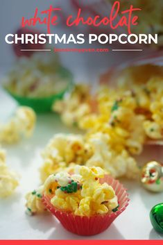Easiest Christmas snack ever! This popcorn is drizzled with white chocolate and topped with Christmas sprinkles. Festive and fun - plus it makes a fun gift! #recipe #holidays #christmas Christmas Popcorn, Christmas Sprinkles, Christmas Snacks, Christmas Baking, Christmas Recipes, Easy Holiday Recipes, Best Dessert Recipes, Fun Desserts, Sweet Recipes