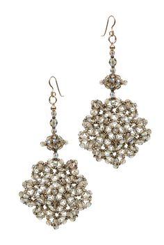 Ingrid K. de Bonstetten grey blue anemona ear rings cristal and silver