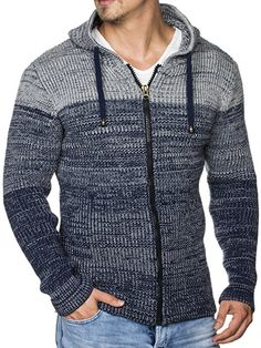 TAZZIO Herren Strick-Jacke mit Melange Muster 16485 Royalblau XL