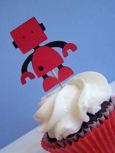robot cupcake toppers