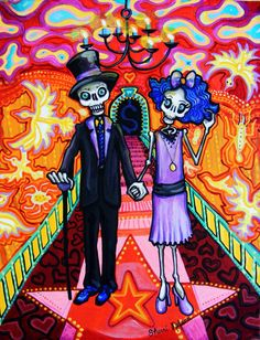 Calavera Wedding - Day of the Dead Art Print - Sugar Skull mexican folk painting
