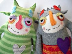 Monster Stuffed Animal Upcycled Wool Striped Sweater Repurposed