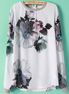 White Long Sleeve Zipper Floral Chiffon Blouse 17.00