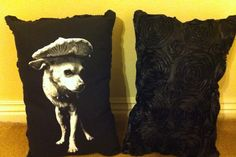 Peewee pillow. Black/black rose pattern 25 by Peeweetrespatas, $25.00