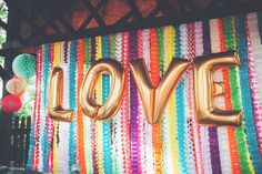 Fun, Eclectic & Colorful Wedding... how amazing is this backdrop?!