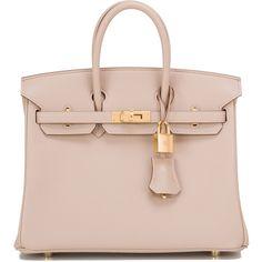 Pre-Owned Hermes Argile Swift Birkin 25cm Gold Hardware (358.670 ARS) ❤ liked on Polyvore featuring bags, handbags, purses, bolsas, sac, argile, genuine leather purse, leather handbags, pink handbags and pink leather handbags